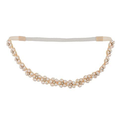 LUX Zubehör Pearl Gold Ton Pavé Center Floral Elastic Stretch Headwrap (Stretch-center)