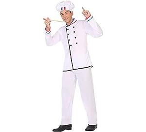 Atosa-50271 Atosa-50271-Disfraz Cocinero-Adulto Hombre, Color blanco, M a L (50271