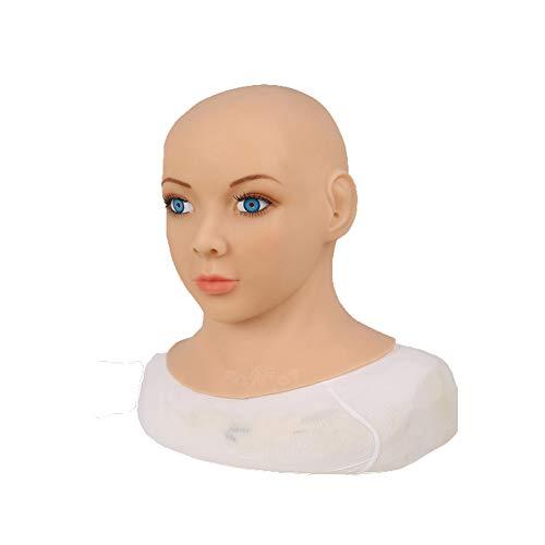 Kostüm Männlich Asian - Erweiterte Silikon Weibliche Masken Große Augen Blaue Iris Neck Cover Künstliches Gesicht Cosplay Requisiten CD TD Drag Queen Halloween Oktoberfest Kostüme,Asian