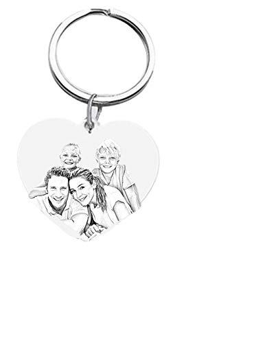 Herz-Foto Keychain personalisiertes Text-und Foto Keychain (Silber- F)