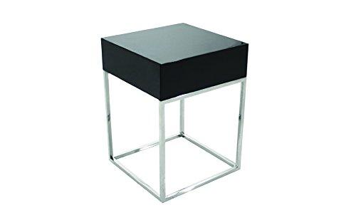 designement Luc Table de Chevet Laqué Noir 40 x 40 x 54 cm