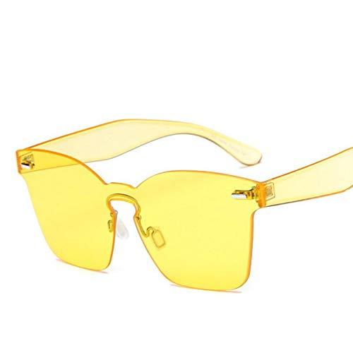 Wenkang Frauen Quadrat Sonnenbrille Candy Farbe Sonnenbrille Mode Niet Randlose Sonnenbrille Flat Top Vintage One Piece Brille,A8