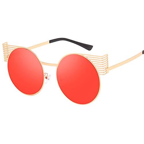 BOLANQ Schön Sonnenbrille Unisex Vintage Eye Sonnenbrille Retro Eyewear Fashion Strahlenschutz(Rot)