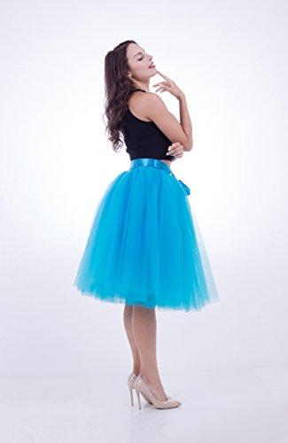 SCFL Women's Tutu Skirt Midi Tulle Skirts 7 Layers Petticoat Underskirt Ballet Skirt Bubble Ball Gown Half Slip Underskirt with Elastic Belt for Wedding Party Blu