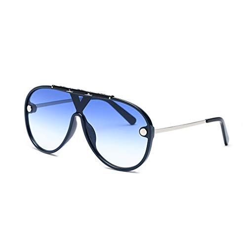 YHgiway Männer Aviator einteiliges Objektiv Sonnenbrille Modedesigner Rivet Studded Oversized Shades Retro Frauen Sonnenbrille YH7445,Blue