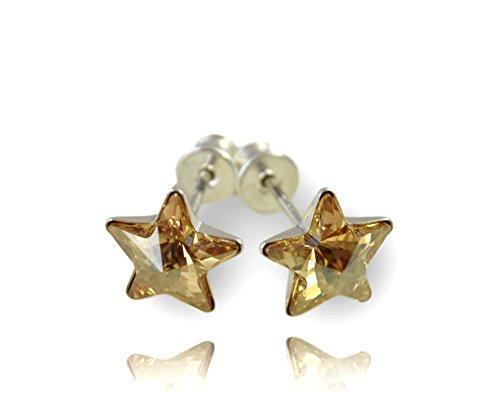 Crystals & stones, meravigliosi orecchini a stella in argento 925, da donna e ragazza, con elementi di cristalli swarovski e custodia e argento, colore: golden shadow, cod. 7