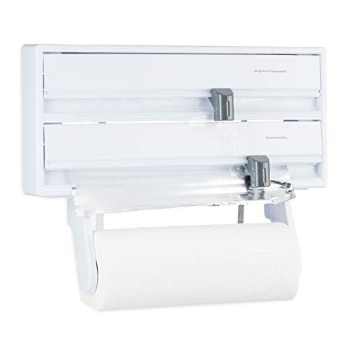 Relaxdays 10024682 Wandrollenhalter Küche 3 in 1, Folienhalter mit Schneideschiebern, Küchenrollenhalter eckig für 3 Rollen, weiß