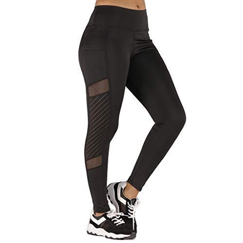 Fenverk Damen Hosen,Frauen Mode 3D Drucken Yoga Skinny Workout Gym Leggings Sport Training Hosen Stretch Workout Schwarz Wabenmuster Jogginghose Fitness Gymnastik(B Schwarz,M)