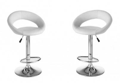 Coppia 2 sgabelli ecopelle bianco per cucina bar ristorante