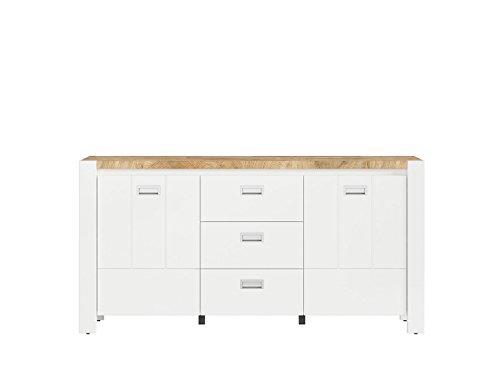 SMARTBett Sideboard Wohnzimmerschrank Kommode DEVISO 160 cm breit Weiß/Eiche Westminster
