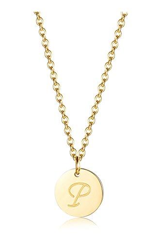 BE STEEL Edelstahl Halskette für Herren Damen Alphabet Halskette Initiale Kette Männer Buchstaben P Goldton 46+5CM