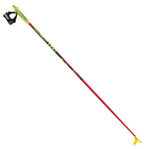 LEKI Erwachsene Skistöcke Genius Carbon, Red Neon Yellow/Black/Silver/White/Anthracite, 165 cm, 6374052