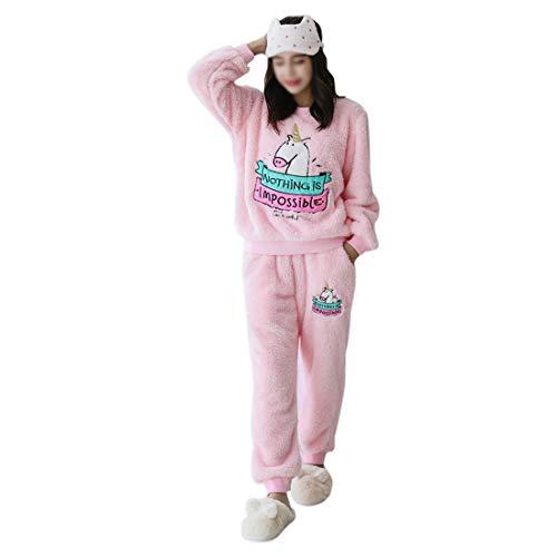GWELL Damen Schlafanzug Set Einhorn Motiv Flanell Pyjama Zweiteiliger Langarm Nachtwäsche Winter rosa L