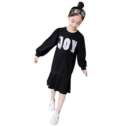 Nähen Keine Kostüm - squarex  Mädchen Langarm Rock Teen Brief Sticken Kleid Kinder Prinzessin Kleid Rüschen Rock Nähen Kleid Casual Rock