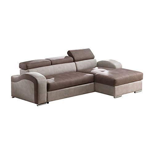 Casarreda store divano letto angolare joker con penisola contenitore, bracciolo ad onda e rivestimento in econabuk