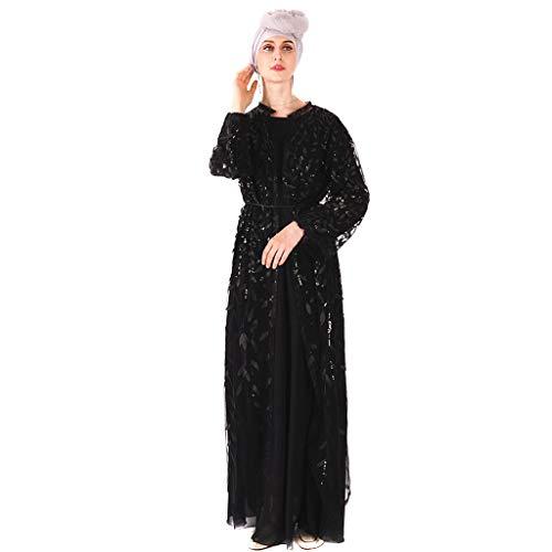 QinMM M - Muslimische Damen Langer Rock Cardigan - Luxus Pailletten Bestickte Spitze Nahtlose Außerhalb Dubai Islamische Arabische Indische Türkei Casual Holiday Robe ()
