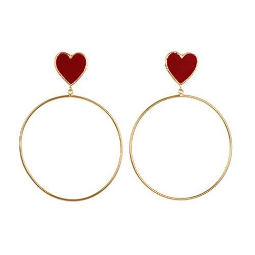 Floweworld Damen Kreis Ohrstecker übertrieben Metall Kreis rotes Herz Ohrringe Damen Schmuck Geschenk -