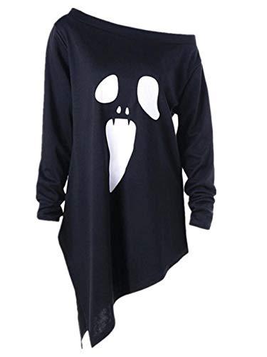 Blusa Mujer Sexy,BBestseller Camiseta de Otoño e Invierno Manga Larga con Estampado de Fantasmas y Estampado Fantasma de Halloween para Mujer