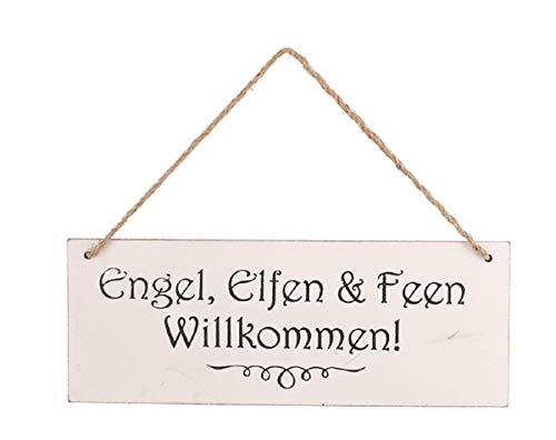 JB Antikholz Türschild mit Aufschrift Engel, Elfen und Feen Willkommen