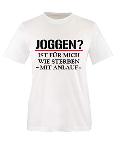 Sterben Kinder Hoodie (Comedy Shirts - Joggen? Ist Fuer Mich wie Sterben mit Anlauf - Mädchen T-Shirt - Weiss/Schwarz-Rot Gr. 152/164)