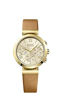 HUGO BOSS 1502397 Women Chronograph Quartz Watch with Leather Bracelet, Gold