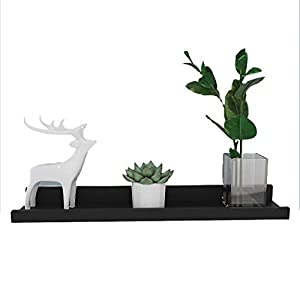 ROOJER Modern schweberegale für fotorahmen-erfüllt vielen Zwecken Deko Wohnaccessoires,weiß&schwarz (Schwarz, 60 x 9 cm)