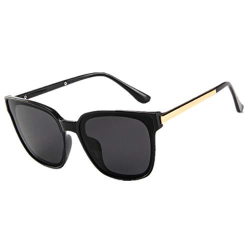 Oversized Sonnenbrille Polarisiert für Damen/Dorical Mode Über-Groß Designer Sonnenbrillen mit UV-400 Schutz Brille/Frauen Metall Rand Brillen Gespiegelte Linse Retro Sunglasses(Schwarz)