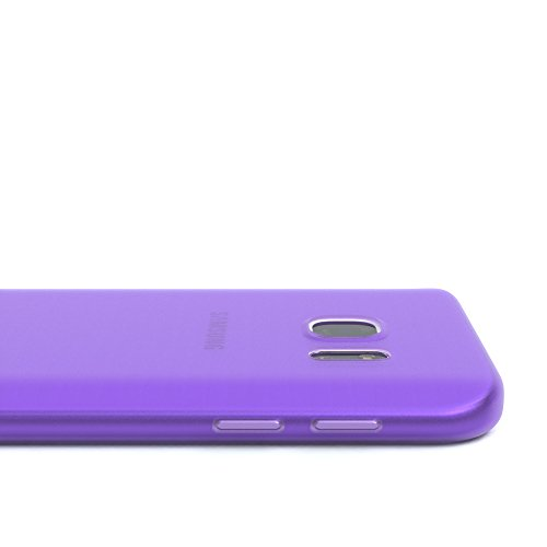 "EAZY CASE Handyhülle für Samsung Galaxy S7 Hülle - Premium Handy Schutzhülle Slimcover ""Brushed"" Aluminium Design - TPU Silikon Backcover in brushed Hellblau Matt Lila"