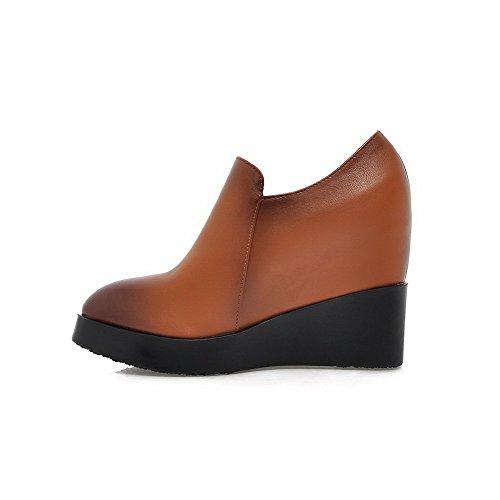 AllhqFashion Femme Couleur Unie Pu Cuir à Talon Haut Pointu Zip Chaussures Légeres Brun