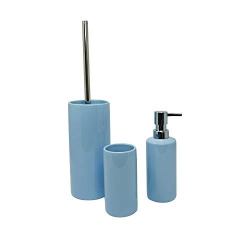 Hochwertiges 3 teiliges Bad-Accessoires-Set pastellfarben, Bade-zimmer Deko Set, Bad-WC-Garnitur, Bad Utensilien Set aus Keramik, bestehend aus Seifen-spender, Zahnputz-becher und Toiletten-bürste