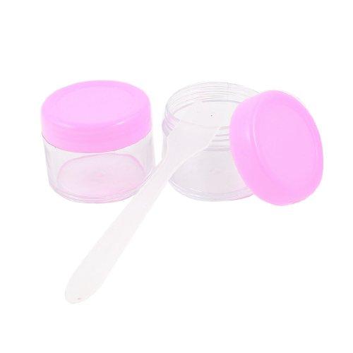 sourcingmap 2 Pcs 15ml Plastique Transparent Rose Tour Vide Crème De Lotion Pot Cosmétique