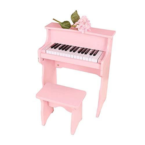 Amtskr tastiera per bambini, pianoforte verticale principiante in legno strumento musicale giocattolo 30-key organo elettronico 3-8 anni vecchi ragazzi e ragazze regalo rosa
