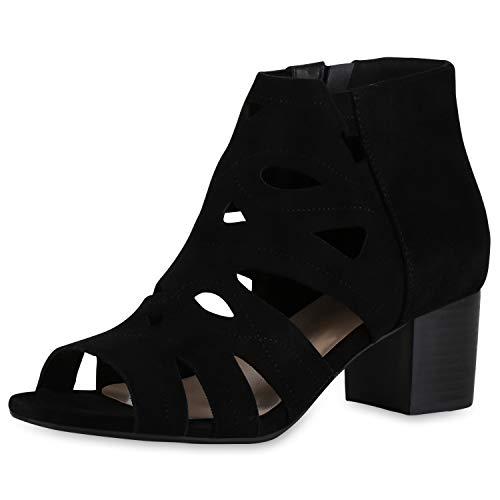 SCARPE VITA Damen Sandaletten Schaftsandaletten Blockabsatz Mid Heels Cut Out Sommer Schuhe Wildleder-Optik Absatzschuhe 175110 Schwarz 37