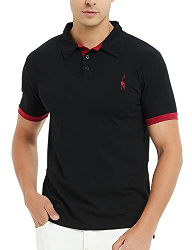 GLESTORE Herren Poloshirt Einfarbig Basic Kurzarm Polohemd M - XXL -