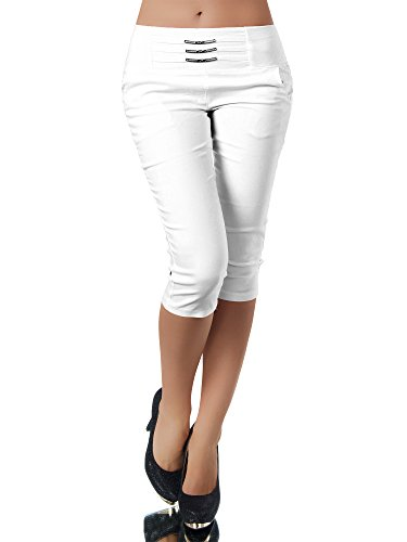 Diva-Jeans N828 Damen Caprihose Treggings Leggings Stoffhose Sommerhose Knielang 3/4 Capri, Farben:Weiß, Größen:M - Weiße Capri-jeans