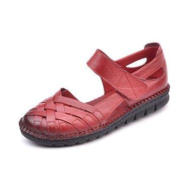 LQXZM Les bottes pour l'hiver en plumes Talon occasionnels de PU Red
