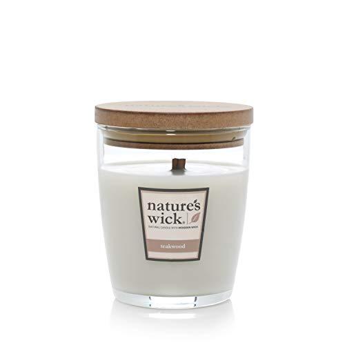 Nature\'s Docht Duftnote: 284 ml Jarred Kerze aus Naturholz mit bis zu 65 Stunden Brenndauer, mittelgroß, Teakholz