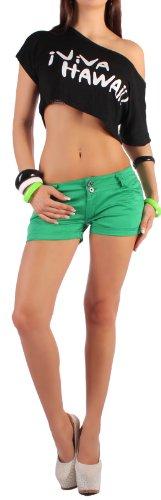 Damen Hotpants Hot Pants Shorts Jeans Hose breite Gürtelschlaufen XS 34 - XL 42 Grün