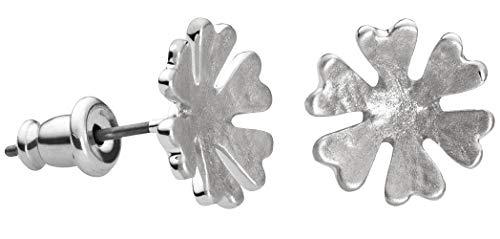 Perlkönig | Damen Frauen | Ohrringe Set | Ear Cuffs | Matt Silber Farben | Schneeflocke| Stecker | Nickelfrei - Cuff Ear Schneeflocke
