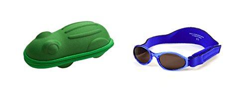 Baby Geschenkpackung grüne Frosch-Brillenetui und Marine Blaue Babybanz Sonnenbrille 0-2 Jahre.