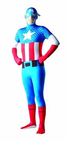 2nd Skin Herren Kostüm Captain America Stretch Overall Größe ()