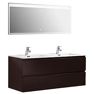 Badmöbel-Set Alice 1200 Graubraun matt - Spiegel optional, Spiegel:Ohne Spiegel, Mineralguss Waschbecken:Glänzend