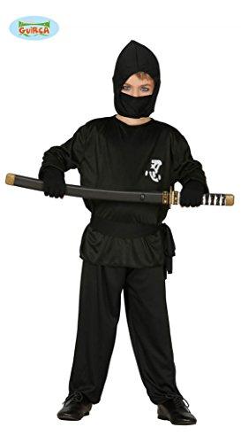 Guirca Schwarzer Ninja Kämpfer Karneval Fasching Kostüm für Jungen Held Gr. 110-146, Größe:140/146 (Ninja Kind Kostüm Schwarze Kämpfer,)