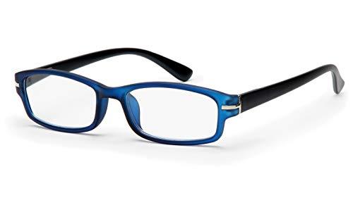 Filtral Hochwertige eckige Lesebrille aus Kunststoff/Vollrand mit Federbügel in blau-schwarz matt, 1,50 dpt. F4540786
