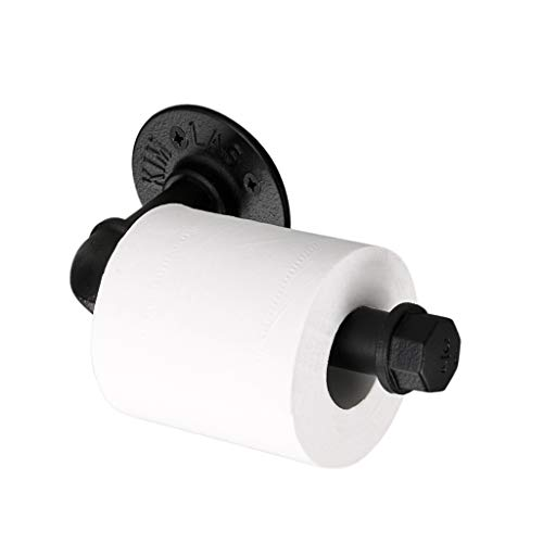 Btsky Vintage Toilettenpapier-Halter aus Industrie-Rohr, Wand befestigter Retro-Toilettenrollen-Halter, Badezimmer-Accessoire, schwarz.