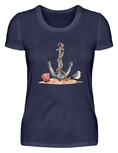 Shirtee Anker im Sand Zeichnung Damen - Damenshirt -M-Dunkel-Blau