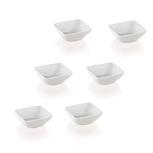 Kerafactum® - 6 Set Dipschale Dippschälchen Puddingform rechteckige Snackschale Schälchen Dessert Schale Form dippen Schüssel zum servieren Melamin Spülmaschinenfest - dip bowl (Design-dip)