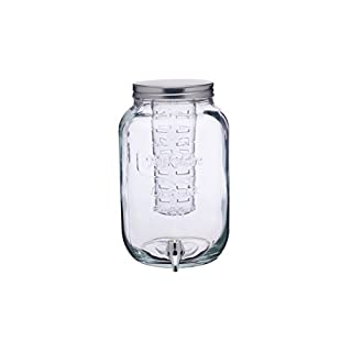 KitchenCraft Home Made Glass Drinks Dispenser Jar with Water Infuser, 7.5 litres-Transparent