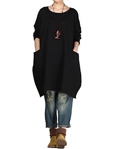 LangÄrmeliges T-shirt Kleid (Vogstyle Damen 2017 Langärmelige Tunika Tops mit Zwei Seite große Taschen Kleid Schwarz L)