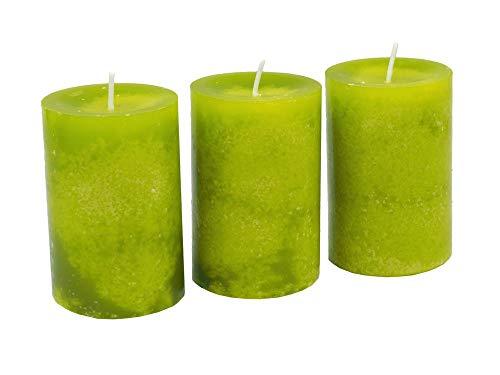 Unbekannt 3 Stumpenkerzen Kerzen Grün Kommunion Konfirmation Tischdeko Hochzeit Ostern Frühling